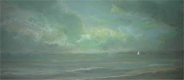 Sea Scene with Green Clouds