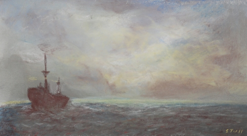 Sea Scene with Freighter
