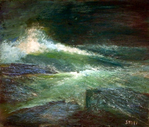 Waves Crashing at Night - Oil on Canvas by Sean Stull